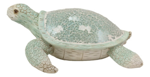 "Aquamarine Coastal Beach Sea Turtle Statue With Mosaic Crushed Glass Shell 10""L"