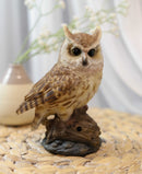 Eagle Owl Owlet Baby On Tree Stump With Motion Sensor Live Hooting Sound Statue