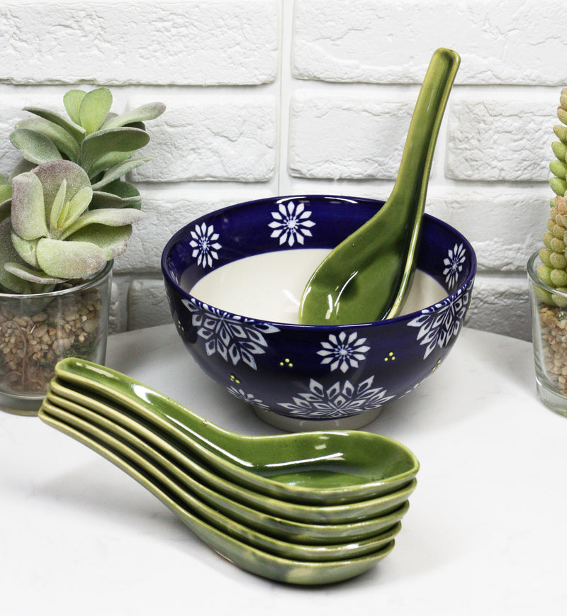 Made In Japan Modern Glazed Ceramic Large Shades Of Green Soup Spoons Set Of 6
