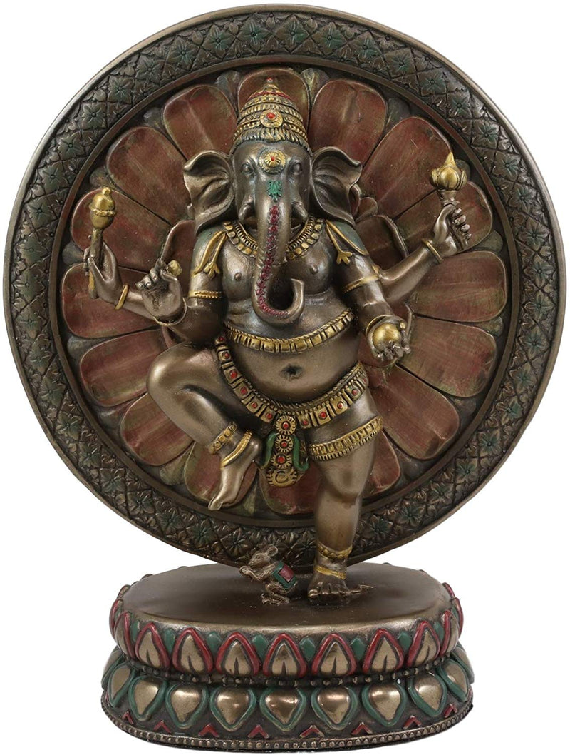 "Ebros 9.25"" Tall Hindu Dancing Ganesha in One Legged Yoga Pose On Lotus Figurine"