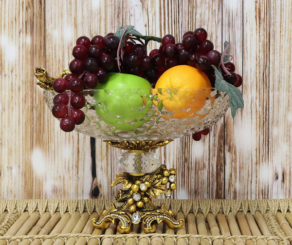 "Ebros Gift Vintage Antique Baroque Design Oval Bowl Acrylic Glass Dish 11"" Wide Dessert Fruits Footed Platter Stand with Electroplated Gold Vineyard Base Sculpture and Austrian Crystals Centerpiece"