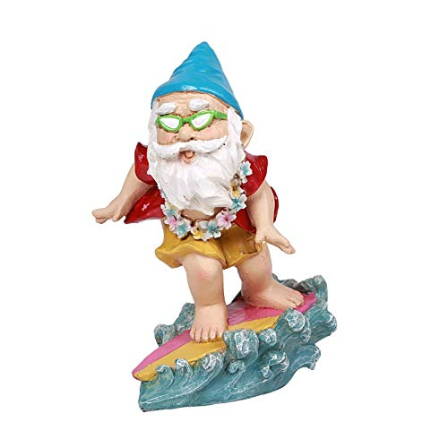 Ebros Free Spirited Hippie Hawaii Themed Vacation Fairy Garden Ocean Surfer Gnome Figurine DIY Mr Gnomes Collection Statue Home Decor