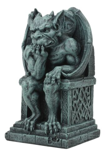 Stoic Gothic Notre Dame Thinker Gargoyle Sitting On The Throne Statue Le Penseur