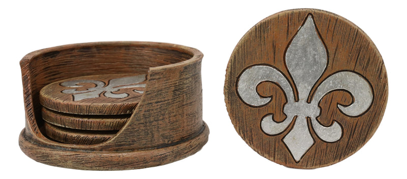 Rustic Western Tuscany Fleur De Lis Crown Coaster Holder & 4 Round Coasters Set