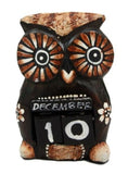 Balinese Wood Handicrafts Hypnosis Eyes Nocturnal Owl Desktop Calendar Figurine