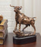 Western Wild Cattle Bull On Pride Rock Electroplated Resin Statue With Base