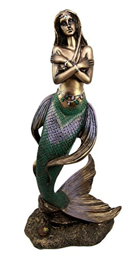 "Ebros Gift Rising Nude Mermaid Maiden With Pearl head Chain Decorative Figurine 13.5""H"