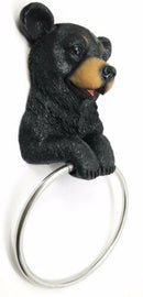 Black Bear Toilet Paper and Hand Towel Holder Set Whimsical Bear Bathroom Decors