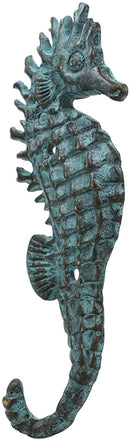 Ebros Verdigris Seahorse Single Wall Mounted Brass Coat Hook Hangers Set of 4