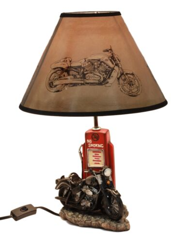 "Ebros Vintage Old Fashioned Retro Black Motorcycle by Classic Gas Pump Desktop Table Lamp 19""Tall Nostalgic Highway Route 66 Road Runner Home Decor Shelf Mantlepiece Lighting Accent"