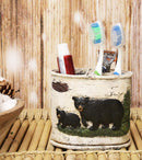 Ebros Wildlife Rustic Black Bear in Pine Trees Forest Bathroom Accent Resin Figurine Accessories with Birch Wood Finish Western Country Cabin Lodge Decorative (Toothbrush and Toothpaste Holder)
