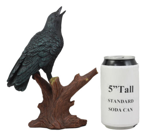 "Ebros Crowing Raven Perched On Tree Branch 8.25"" Tall Scavenger Bird Figurine"