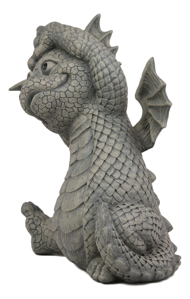 Ebros Whimsical Garden Dragon Morning Yoga Stretch Statue Cute Baby Dragon Faux Stone Resin Finish Figurine Dungeons and Dragons Mythical Fantasy Sculpture Guest Greeter Home Decor
