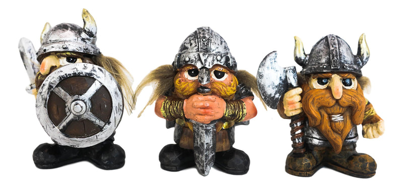 Small Chibi Norse Viking Berserk Warriors with Axe Sword Shield Statue Set of 3