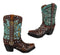 Set of 2 Western Cowboy Turquoise Boots Make Up Tools Pencil Pen Holder Figurine