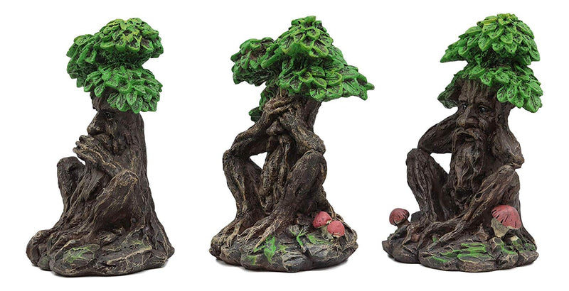 Wiccan Forest Spirit Deity See Hear Speak No Evil Greenman Tree Ents Statue Set