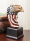 Patriotic Bald Eagle On USA Star Spangled Banner Flag Bust Electroplated Statue