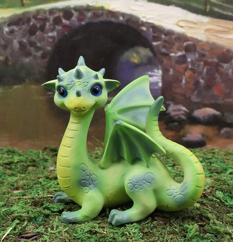 "Ebros Whimsical Adorable Green Dinosaur Dragon with Spiked Head Figurine 3"" Tall"