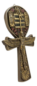 "Ebros Egyptian Ankh of Isis with Open Wings Wall Plaque 7.5"" High (Bronze)"