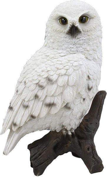 "Ebros Snowy Tundra White Owl Perching On Tree Branch Statue 6.5""Tall Figurine"