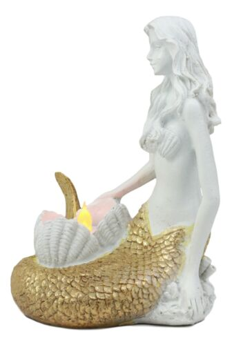 "Ebros Under The Sea Golden Mermaid Candle Holder Statue 6.75"" Tall Nautical Mermaid Holding Oyster Shells Figurine"