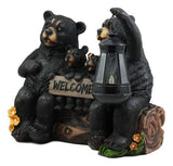 Beacon Of Happiness Black Bear Family Welcome Sign Statue With Solar LED Light