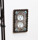 Set of 2 Western Turquoise Stars Lace Scroll Wall Double Receptacle Outlet Plate