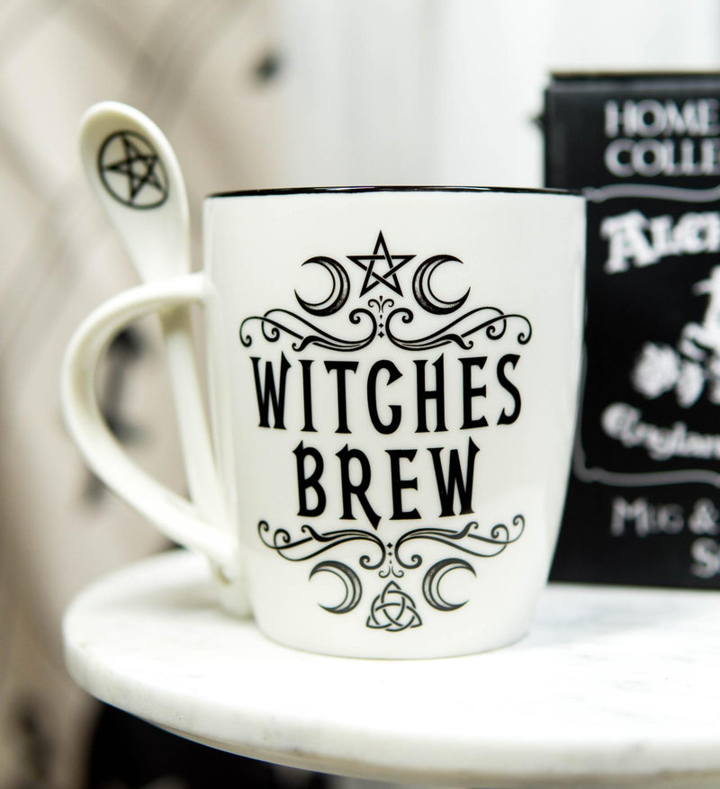 Wicca Sacred Moon Triple Goddess Pentacle Witches Brew Ceramic Mug And Spoon Set