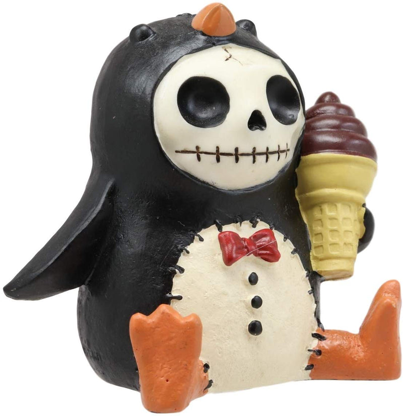 "Ebros Gift 2.5"" Tall Furrybones Pen The Emperor Penguin Chick with Red Bow Tie and Sugar Cone Ice Cream Collectible Figurine Skeleton Monster Penguins Hooded Costume Furry Bones Statue"