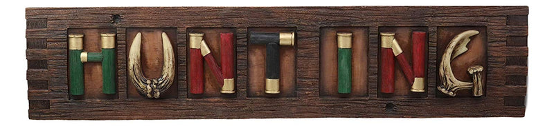 Ebros Faux Wood Colorful Western 12 Gauge Shotgun Shells Ammo Bullets Hanging Wall Plaque with Hunting Sign Home Decor Rustic Cabin Hunters Collection Figurine