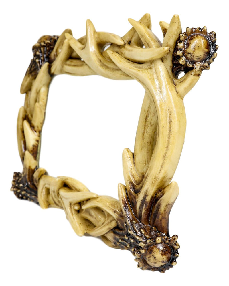 """Rustic Intertwined Stag Deer Antlers Picture Frame With Easel Back 4/""""X6/"""" Photo"""
