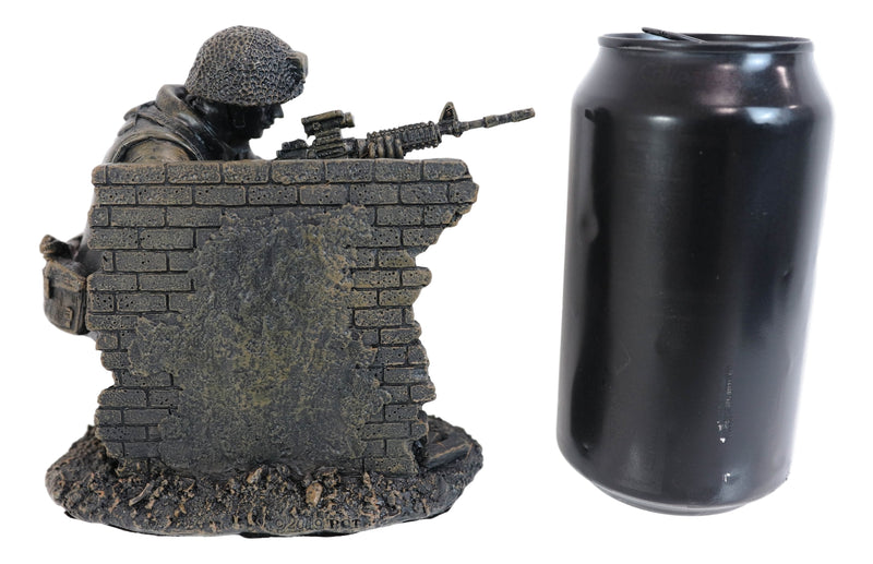 War Battlefield Kneeling Soldier Taking Cover With Rifle Gun And Gears Statue