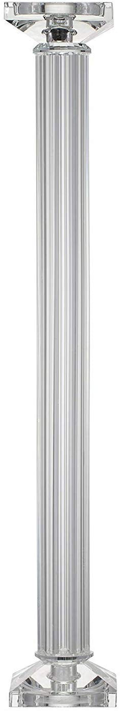"Ebros Contemporary Crystal Glass Pillar Column Candle Holder Candlestick Candleholder Decor Figurine for Mantelpiece Countertop Table Master Bedroom Living Room Accent (23"" High)"