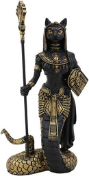 "Ebros 11""H Egyptian Bastet Cat With Snake Holding Spear & Shield Statue 11""H - Ebros Gift"