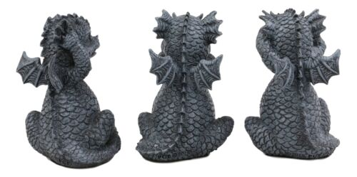 Whimsical Dragon Hatchlings See Hear Speak No Evil Baby Dragons Statue Set Of 3