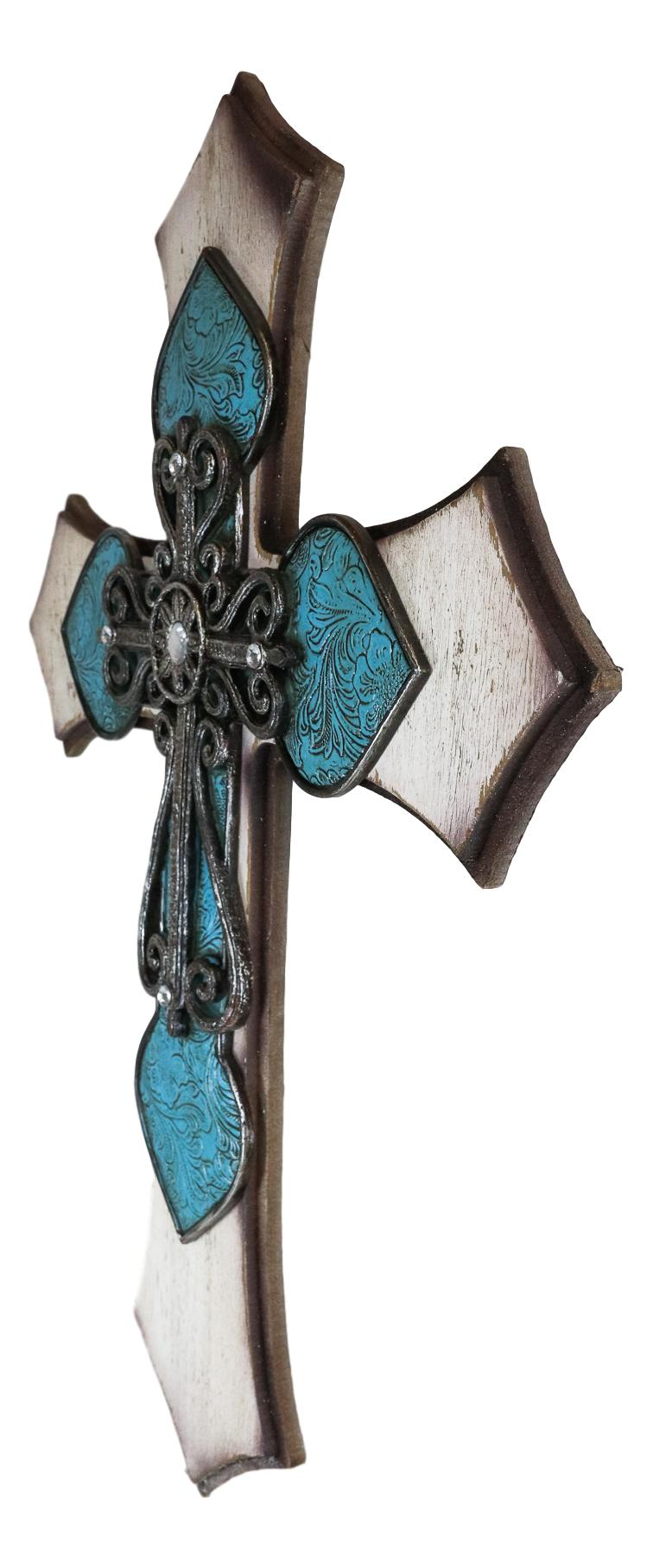 Large Rustic Western Crystal Floral Turquoise Occitan Spade Layered Wall Cross