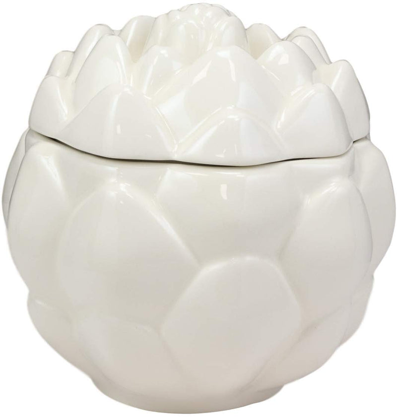 "Ebros 6""D Ceramic White Artichoke Condiments Container With Lid Dipping Sauce"