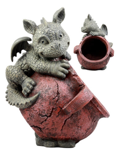 "Playful Climbing Dragon Baby Planter Pot Home Patio Garden Decor Statue 12.5""H"