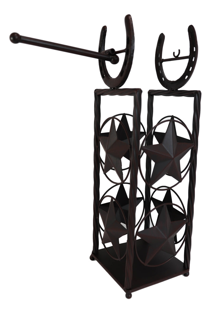 Cast Iron Western Rustic Lone Stars Horseshoes Toilet Paper Holder Stand Station