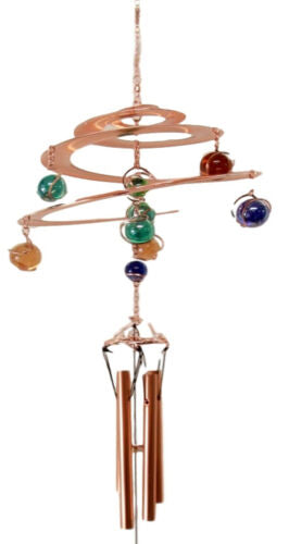 Ebros Gift Spiral Galaxy Copper Metal Wind Chime With Colorful Marbles Resonant Outdoor Patio Garden Decor Accessory