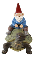 "Large Whimsical Mr. Gnome Riding Faithful Giant Turtle Garden Statue 17.25"" Long"