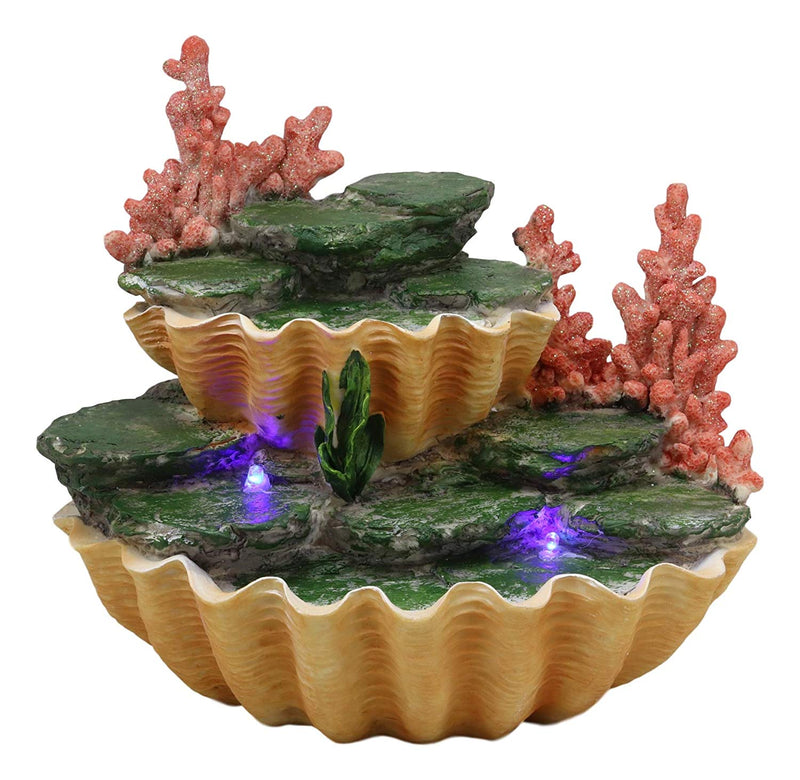 "Ebros 10"" Wide Colorful Nautical Ocean 2 Tier Golden Giant Clam Shell with Coral Reefs Miniature Mermaids Display Stand Statue with LED Glow Lights Fantasy Mermaid Mergirls Sirens of The Seas - Ebros Gift"