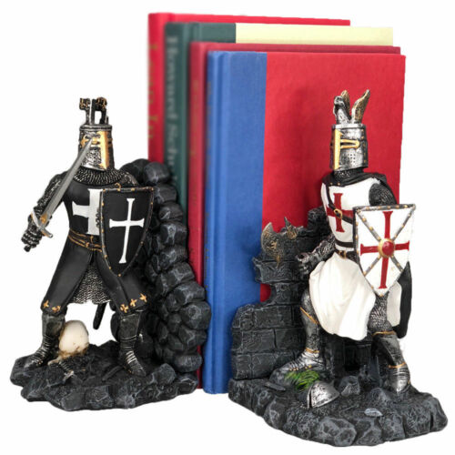 "Black And White Medieval Crusader Knight Bookends Statue 7.5""H Set Suit Of Armor"