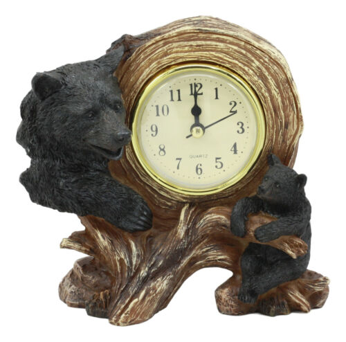 "Ebros Black Bear Table Clock Mother Bear and Cub On Branch Desktop Clock Figurine 5.5"" Tall"