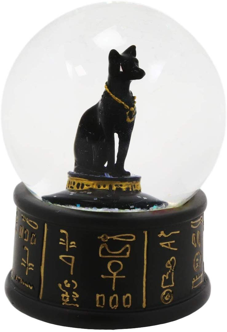 "Ebros Black and Gold Goddess Bastet Cat Glitter Snow Globe 65mm Small 3.5""H"