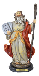 Moses Holding Staff and Ten Commandments Tablets Statue With Brass Name Plate