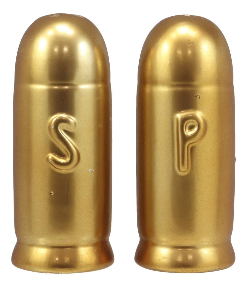 "Ebros Western Cylindro Spherical Ammo Shells Gold Tone Bullets Ceramic Salt and Pepper Shakers Decorative Figurine Set 4"" Tall Hunters Outdoorsmen Cabin Lodge Rustic Military War Decor Sculptures"