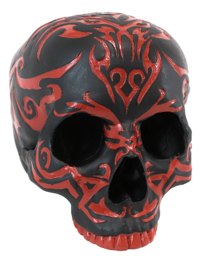 "Ebros Black and Red Gothic Tribal Warrior Blood Maori Tattoo Skull Figurine 7""L"