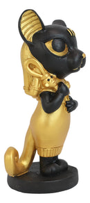 Egyptian Goddess Cat Bastet Holding Ankh Black Gold Finish Chibi Small Figurine