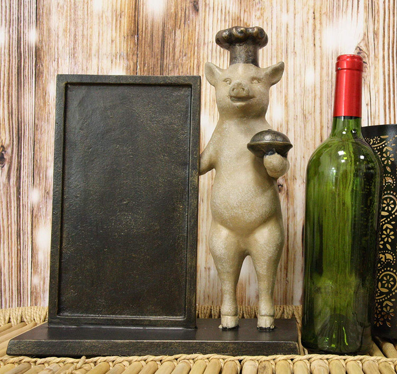"Ebros Aluminum Whimsical Porky Pig with Chef Hat Standing by A Menu Board Statue 13.25"" Tall Rustic Western Cottage Country Farm Pigs Piglets Home Kitchen and Dining Countertop Table Decor Sculpture"